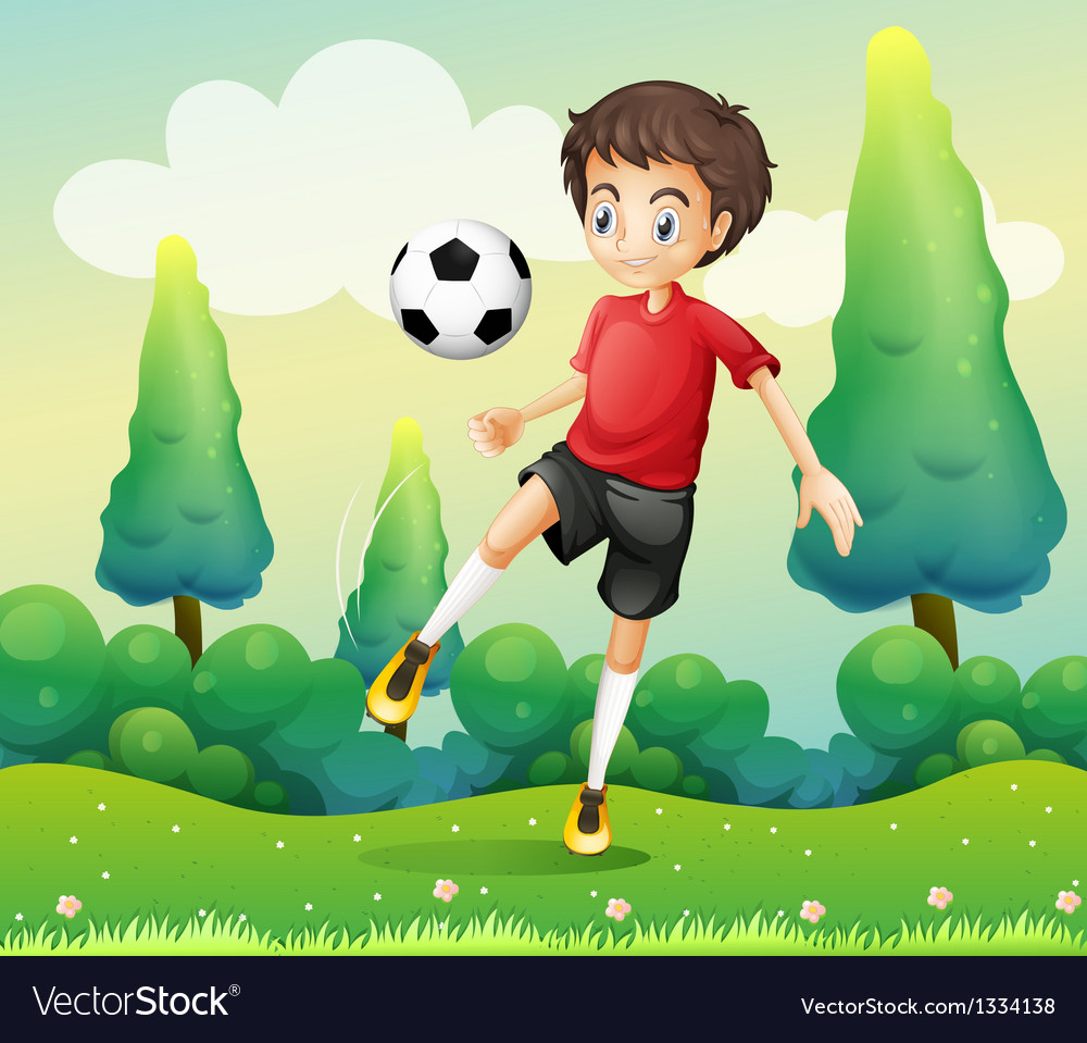 A boy with a red shirt kicking a soccer ball vector | Price: 1 Credit (USD $1)