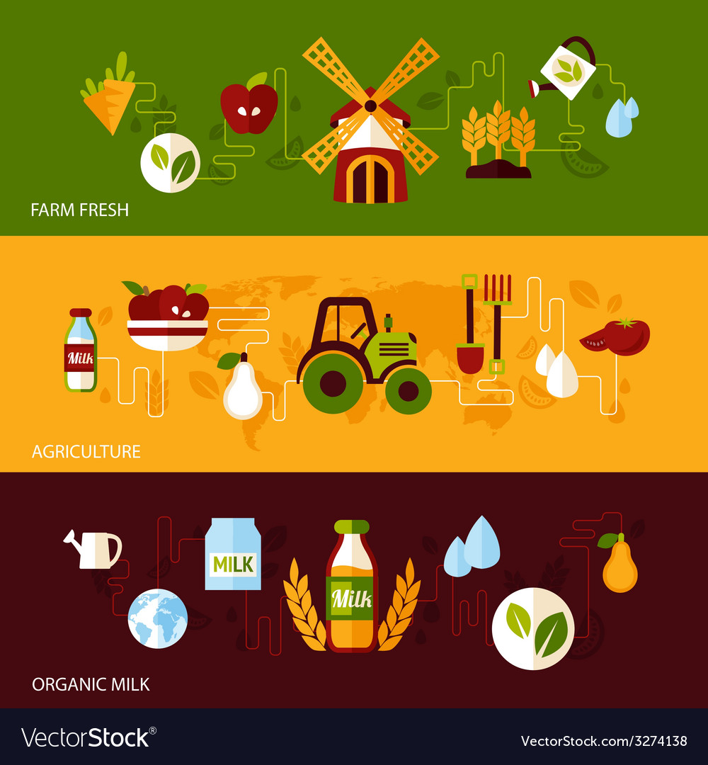 Agriculture banner set vector | Price: 1 Credit (USD $1)