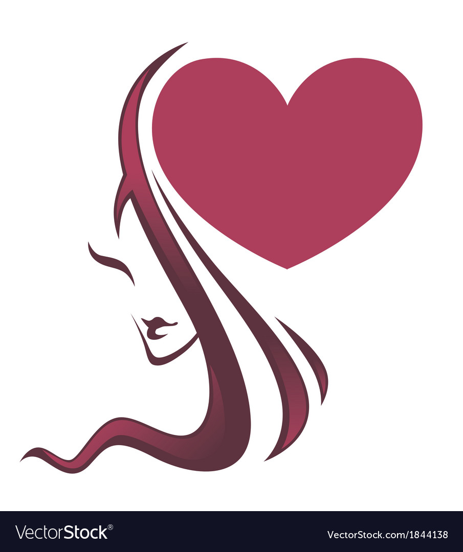 Beautiful girl and big heart vector | Price: 1 Credit (USD $1)