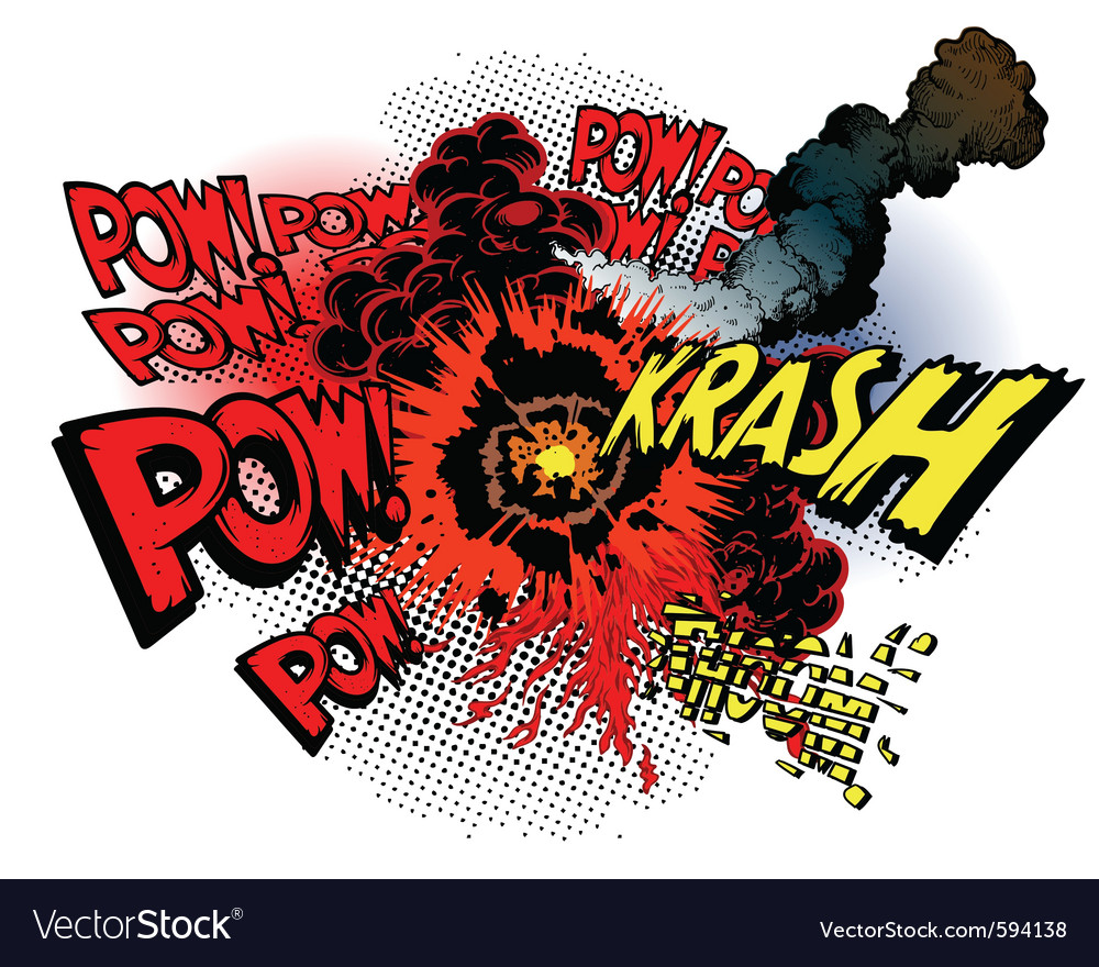Cartoon war explosions vector | Price: 3 Credit (USD $3)