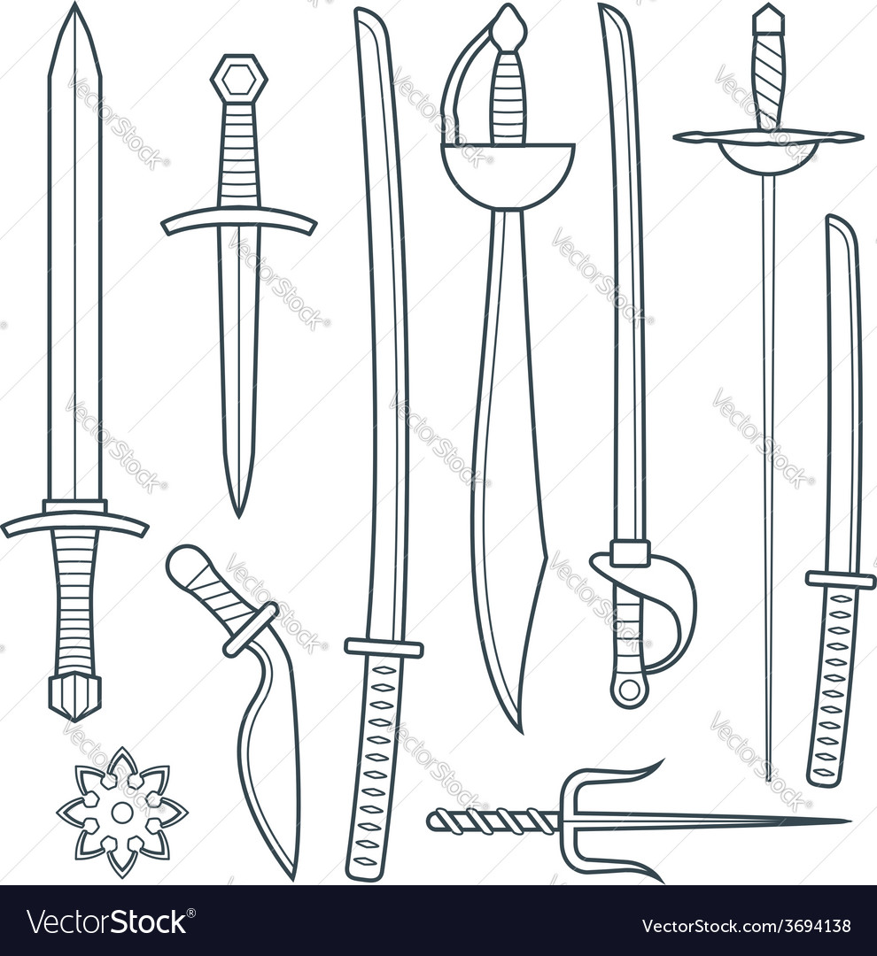 Cold weapons outline set vector | Price: 1 Credit (USD $1)