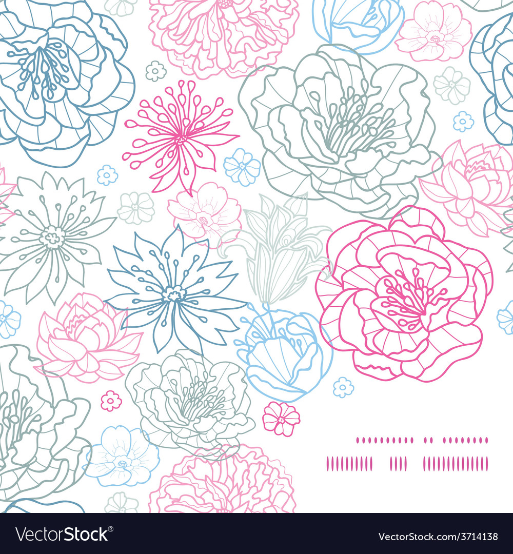Gray and pink lineart florals frame corner vector | Price: 1 Credit (USD $1)