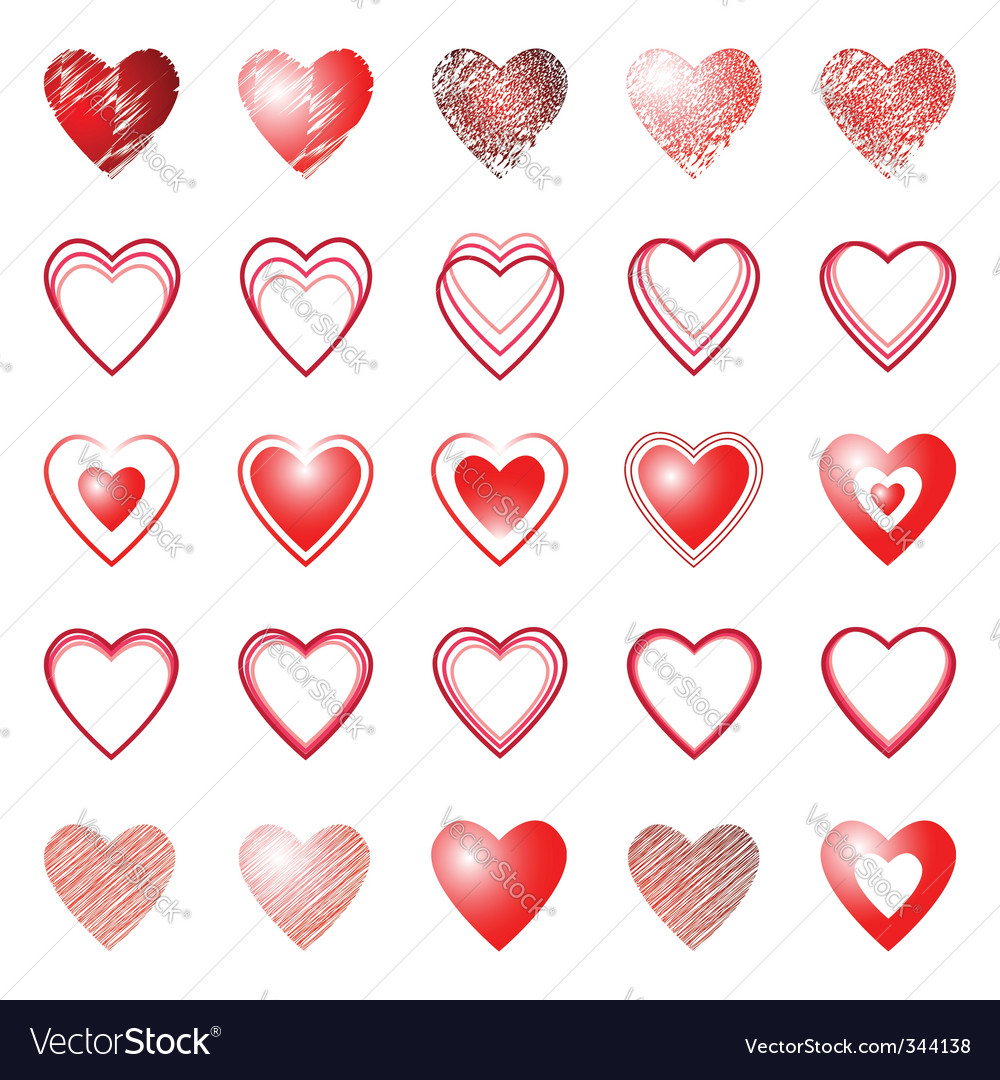 Heart icons design elements set vector | Price: 1 Credit (USD $1)