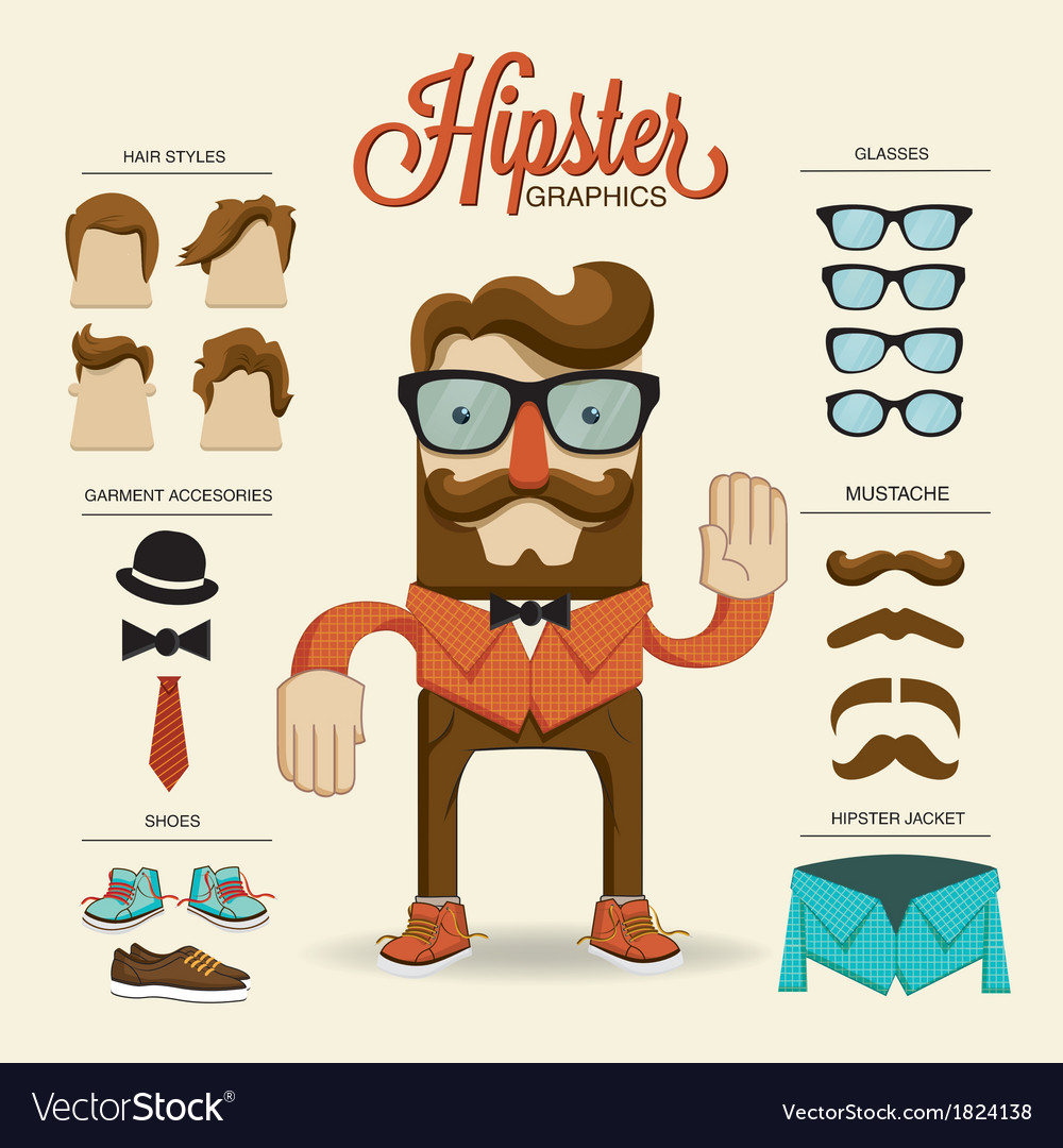 Hipster character with hipster elements and vector | Price: 1 Credit (USD $1)