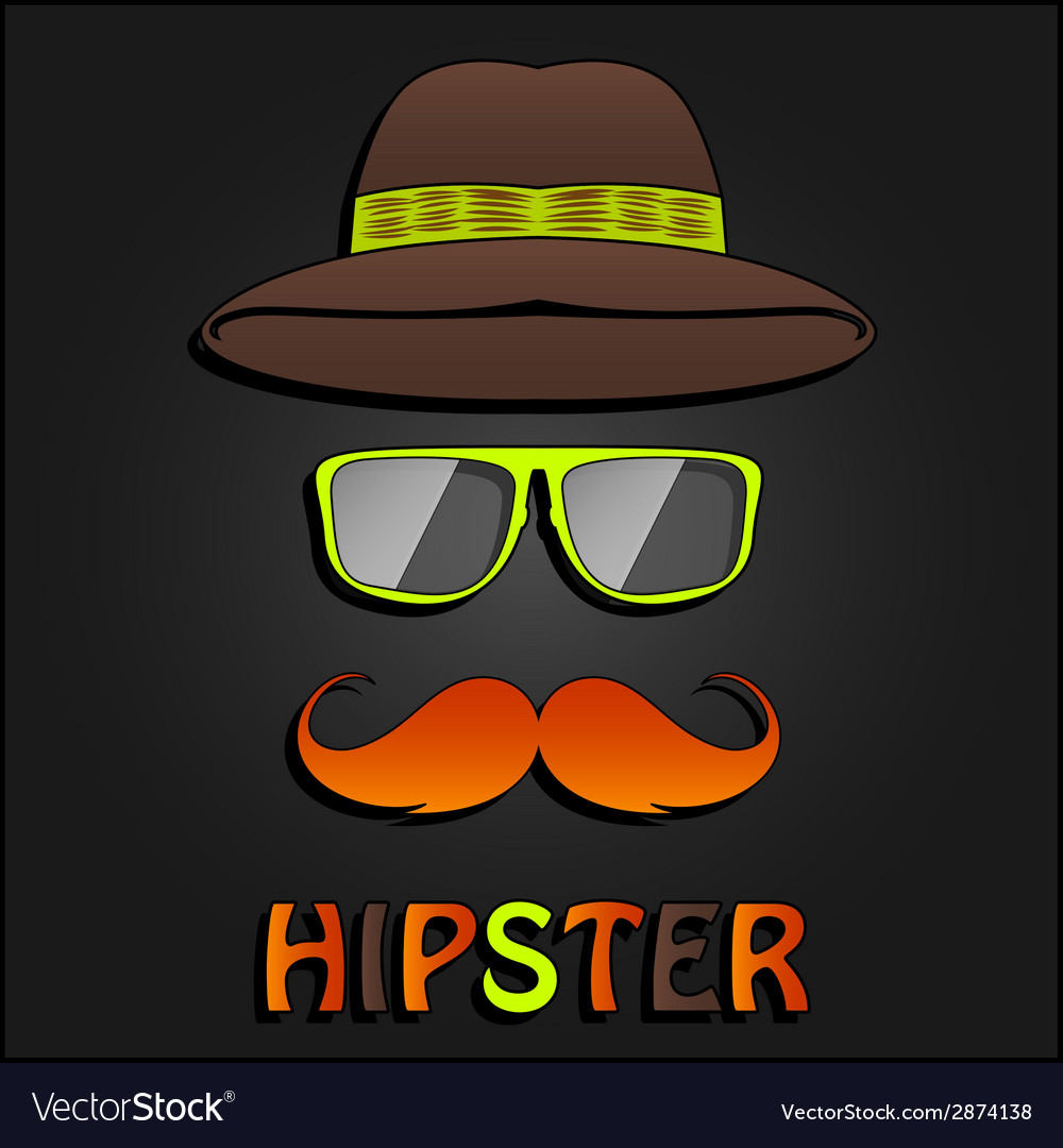 Retro hipster mustache glasses and hat poster vector | Price: 1 Credit (USD $1)