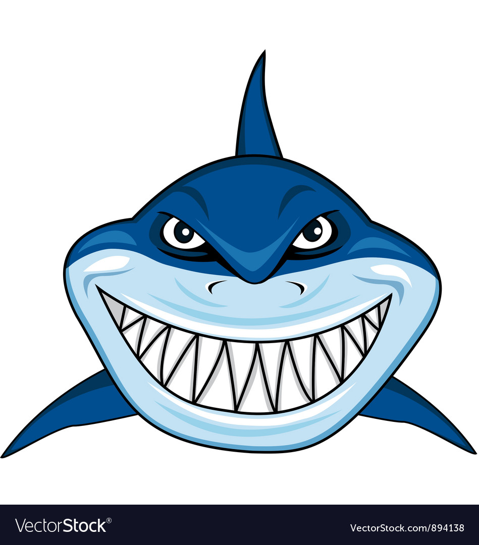 Smiling shark cartoon vector | Price: 3 Credit (USD $3)