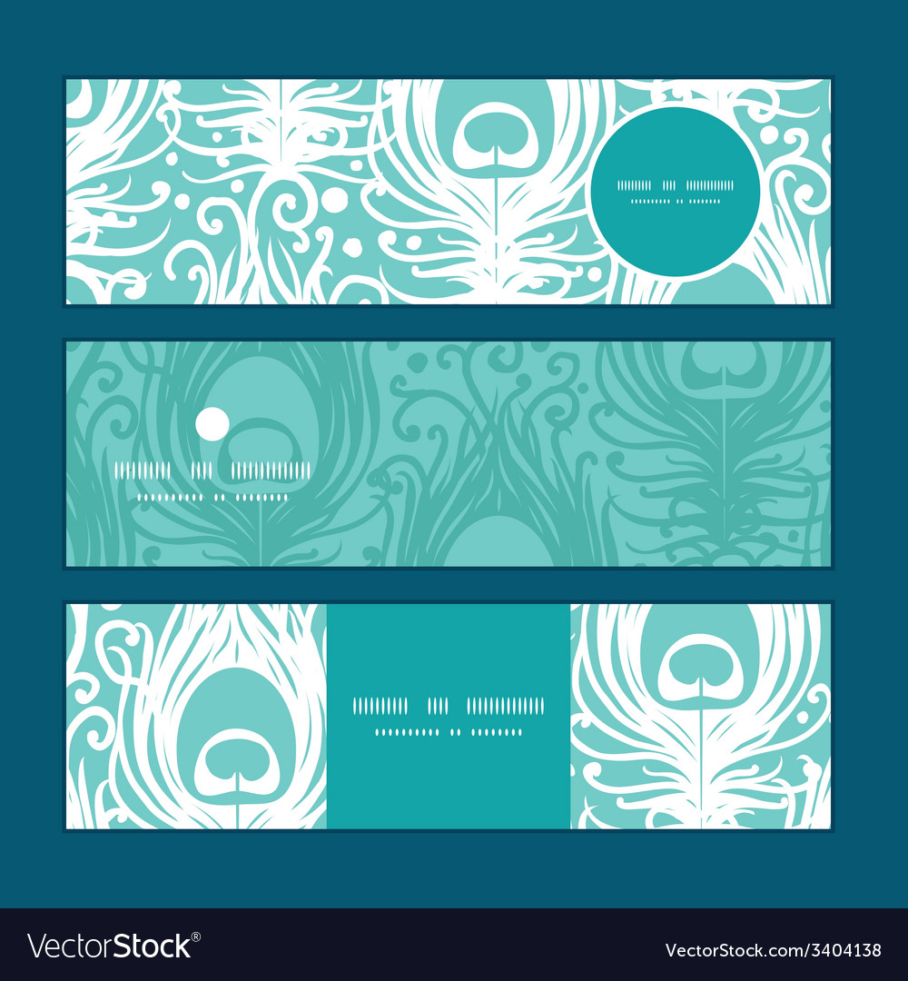 Soft peacock feathers horizontal banners set vector | Price: 1 Credit (USD $1)