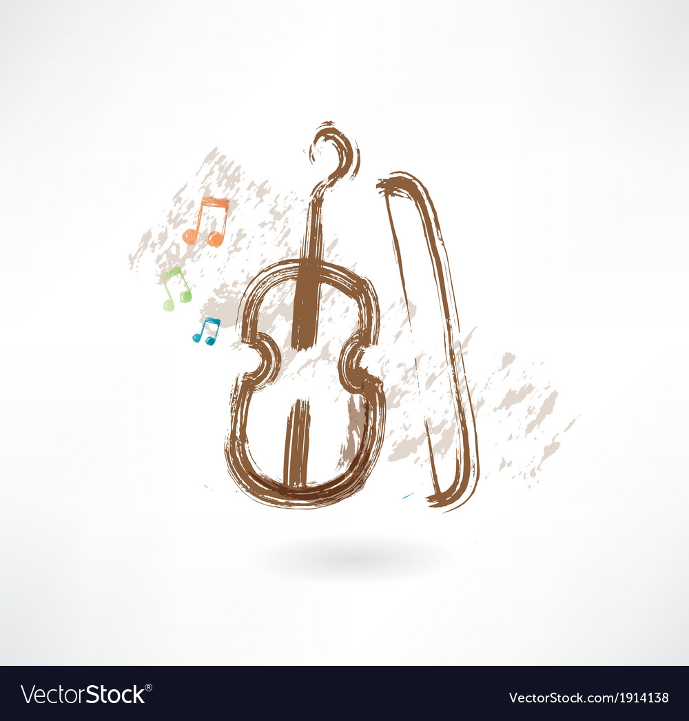 Violin with a bow grunge icon vector | Price: 1 Credit (USD $1)