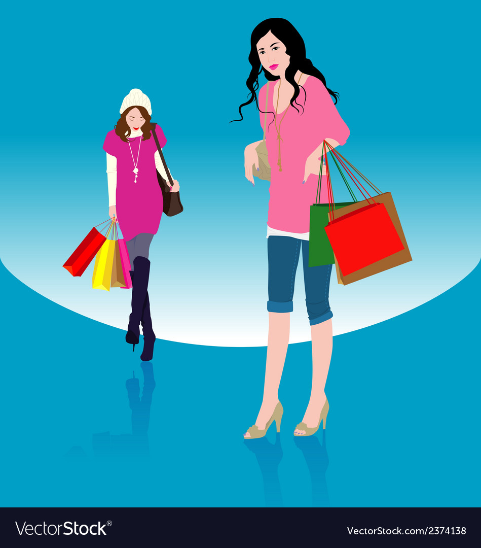 Woman shopping1 vector | Price: 1 Credit (USD $1)