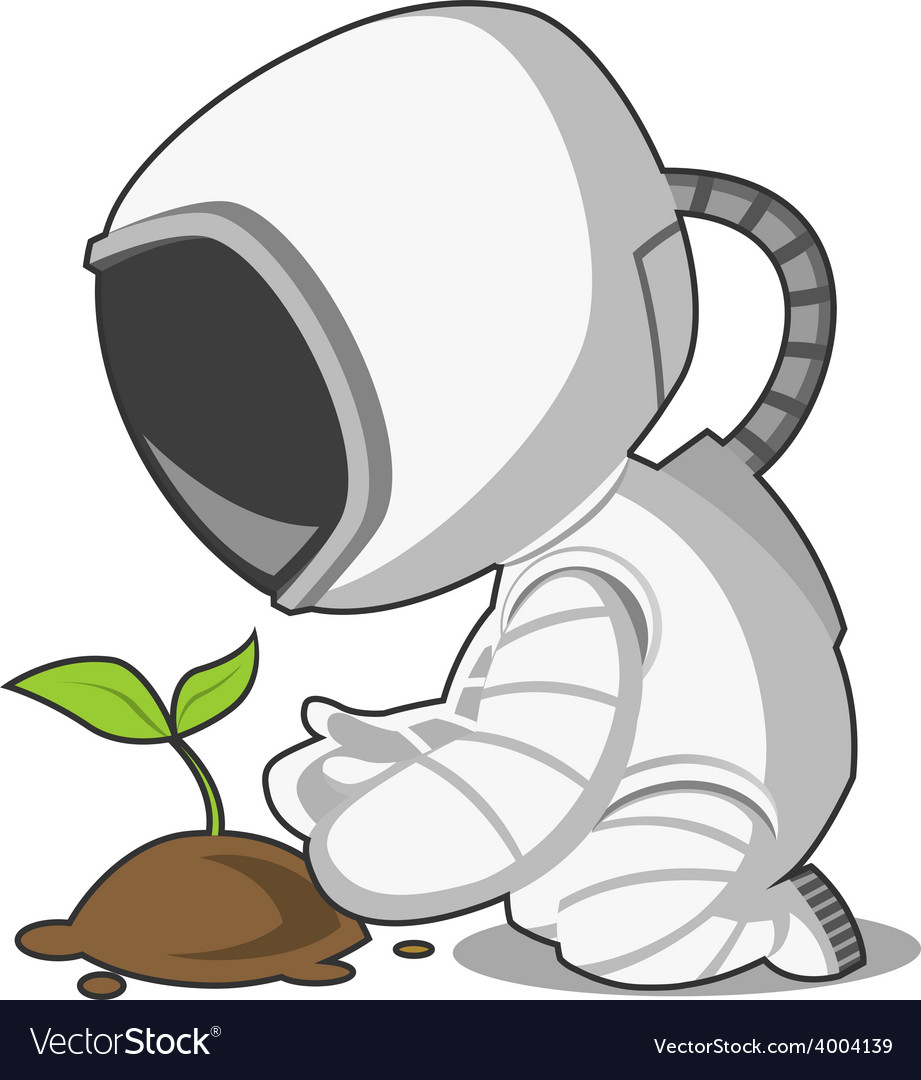Astronaut and plant vector | Price: 1 Credit (USD $1)