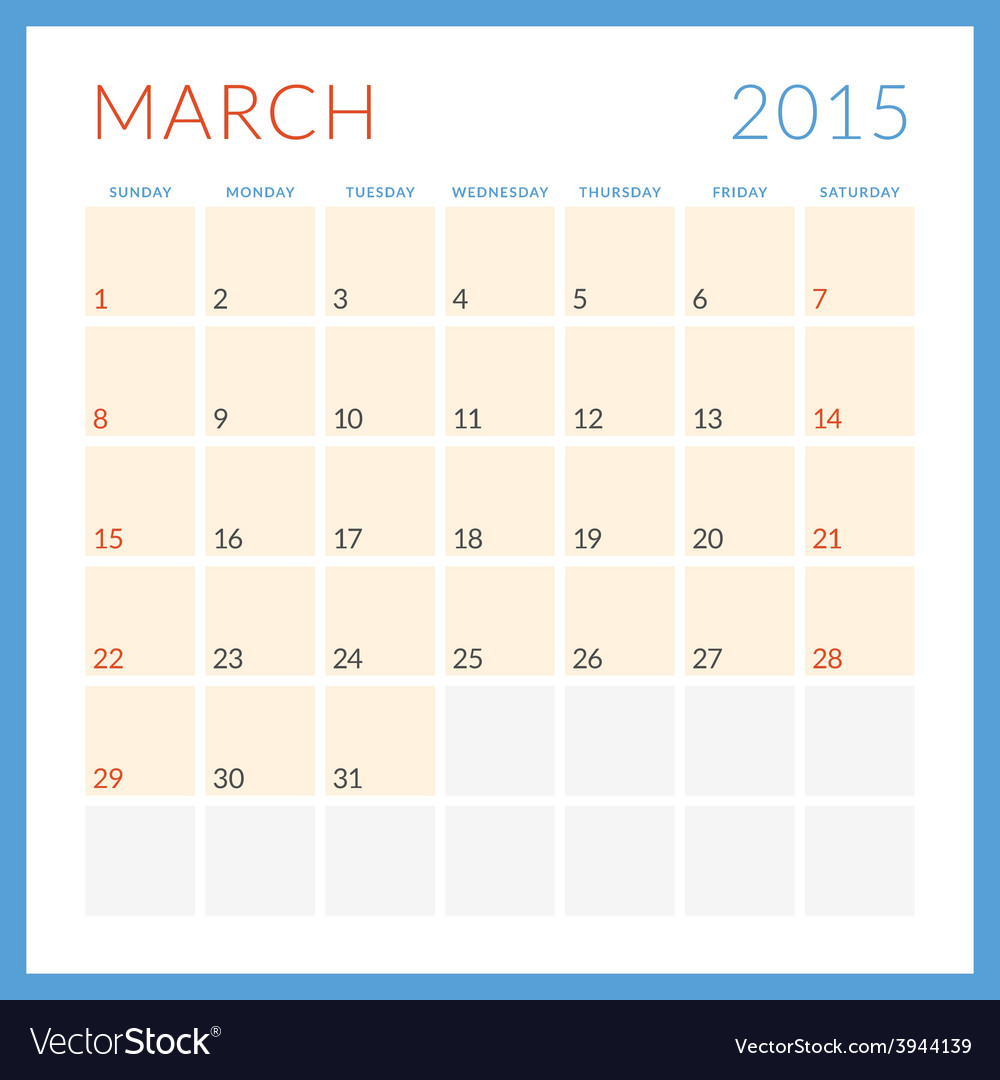 Calendar 2015 flat design template march week vector | Price: 1 Credit (USD $1)