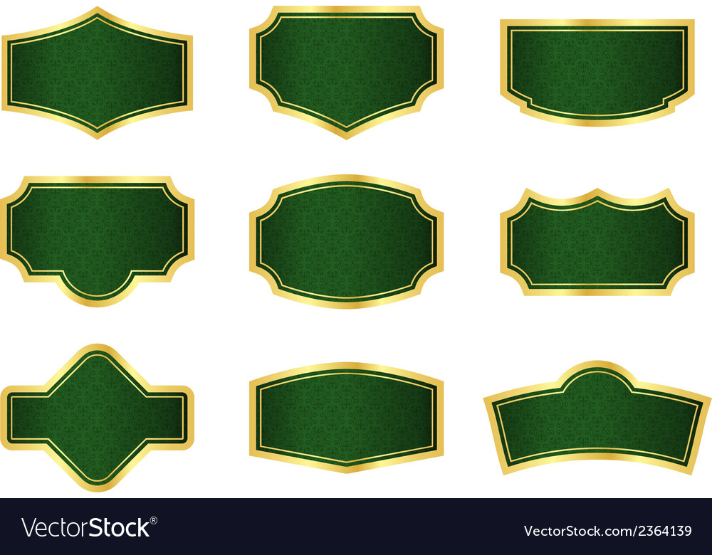 Dark green vine labels with gold frames vector | Price: 1 Credit (USD $1)