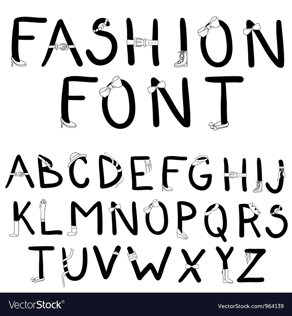 Fashion font with accessories vector | Price: 1 Credit (USD $1)