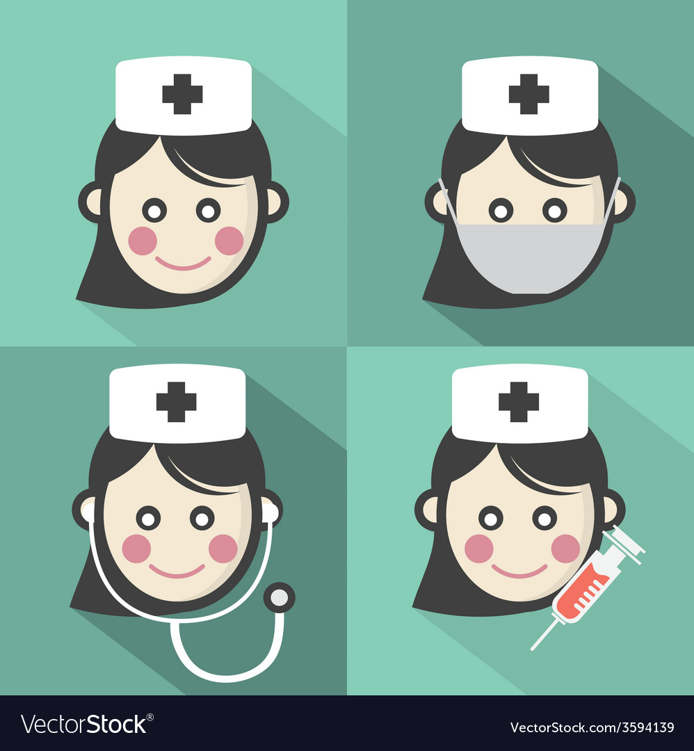 Flat design nurse icon with long shadow effect vector | Price: 1 Credit (USD $1)
