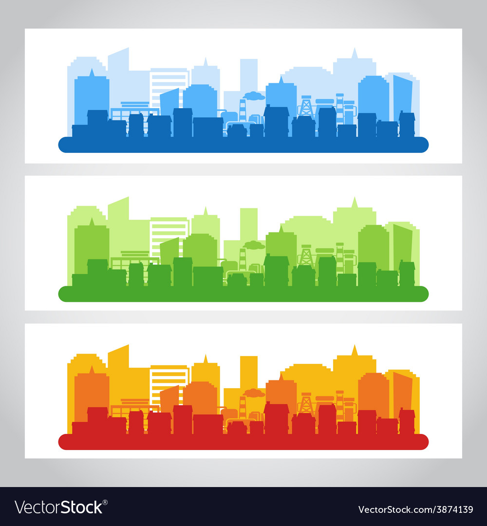 Landscape city banner color vector | Price: 1 Credit (USD $1)