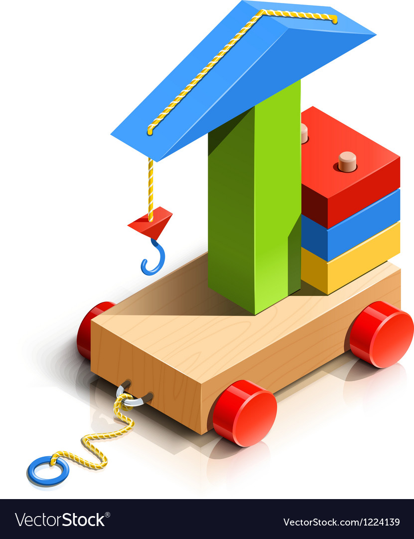 Lifting crane wooden toy vector | Price: 3 Credit (USD $3)