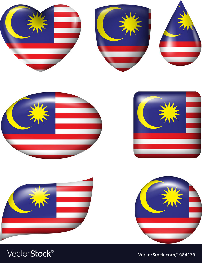 Malaysian flag in various shape glossy button vector | Price: 1 Credit (USD $1)