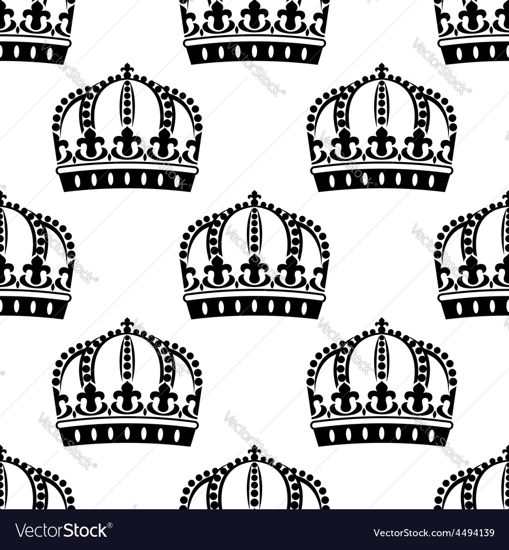 Medieval royal crowns seamless pattern vector | Price: 1 Credit (USD $1)