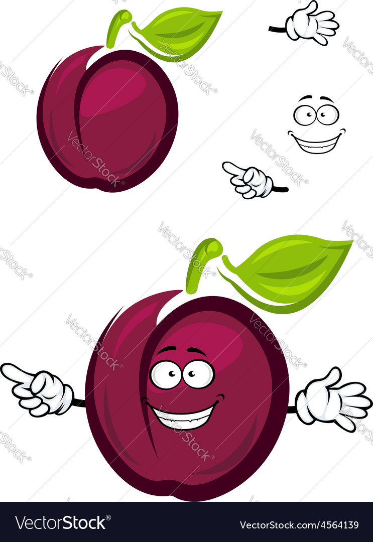 Ripe purple cartoon plum fruit with a green leaf vector | Price: 1 Credit (USD $1)