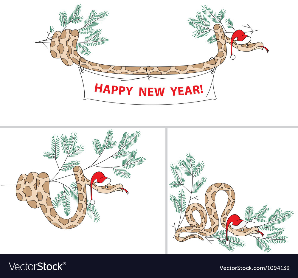 Snake with christmas hat and spruce vector | Price: 1 Credit (USD $1)