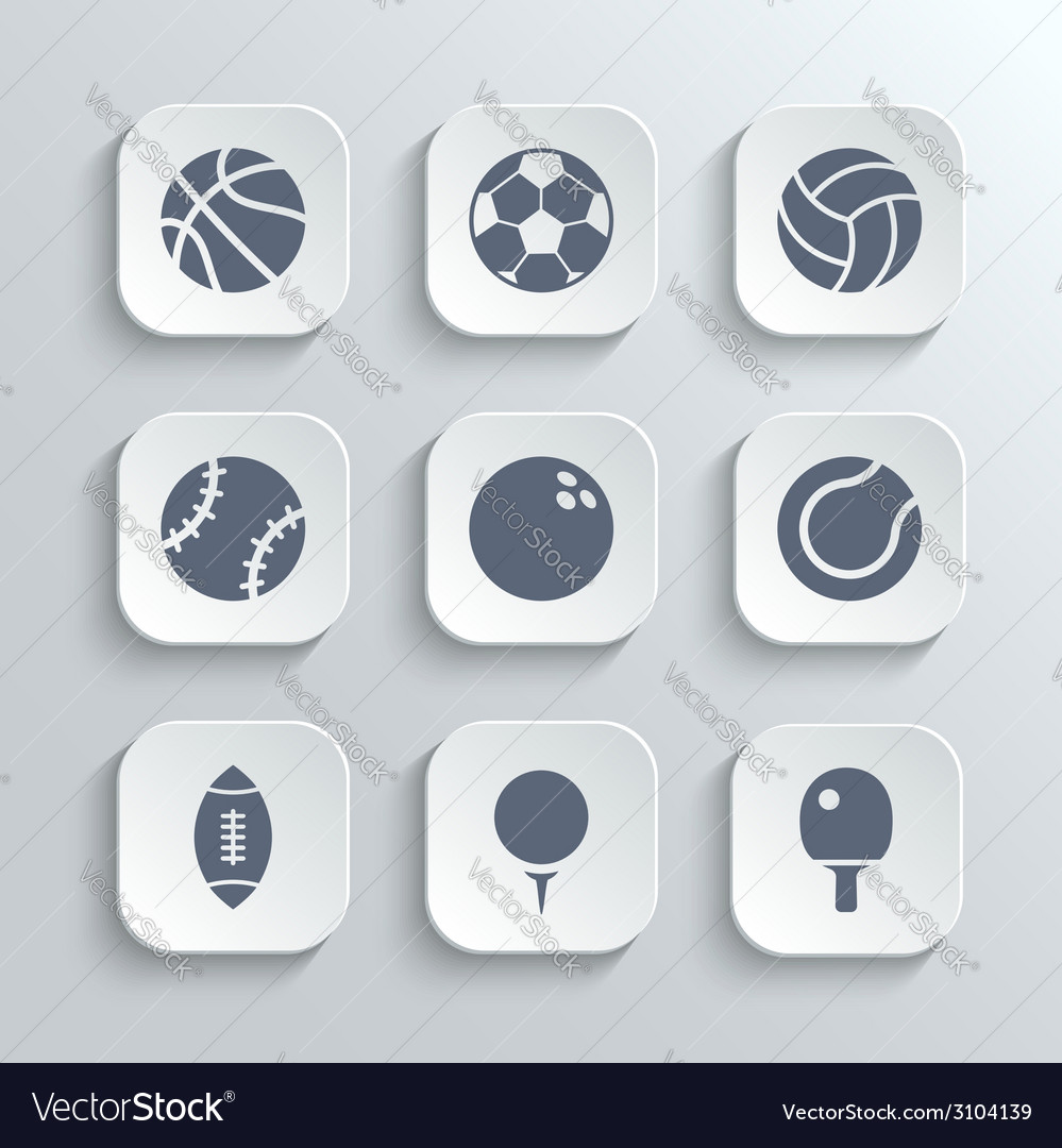 Sport balls icon set - white app buttons vector | Price: 1 Credit (USD $1)