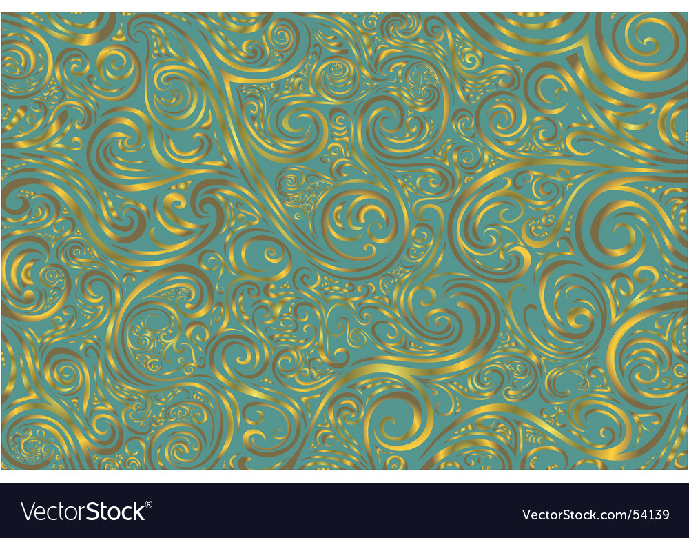 Teal and gold scroll work vector | Price: 1 Credit (USD $1)
