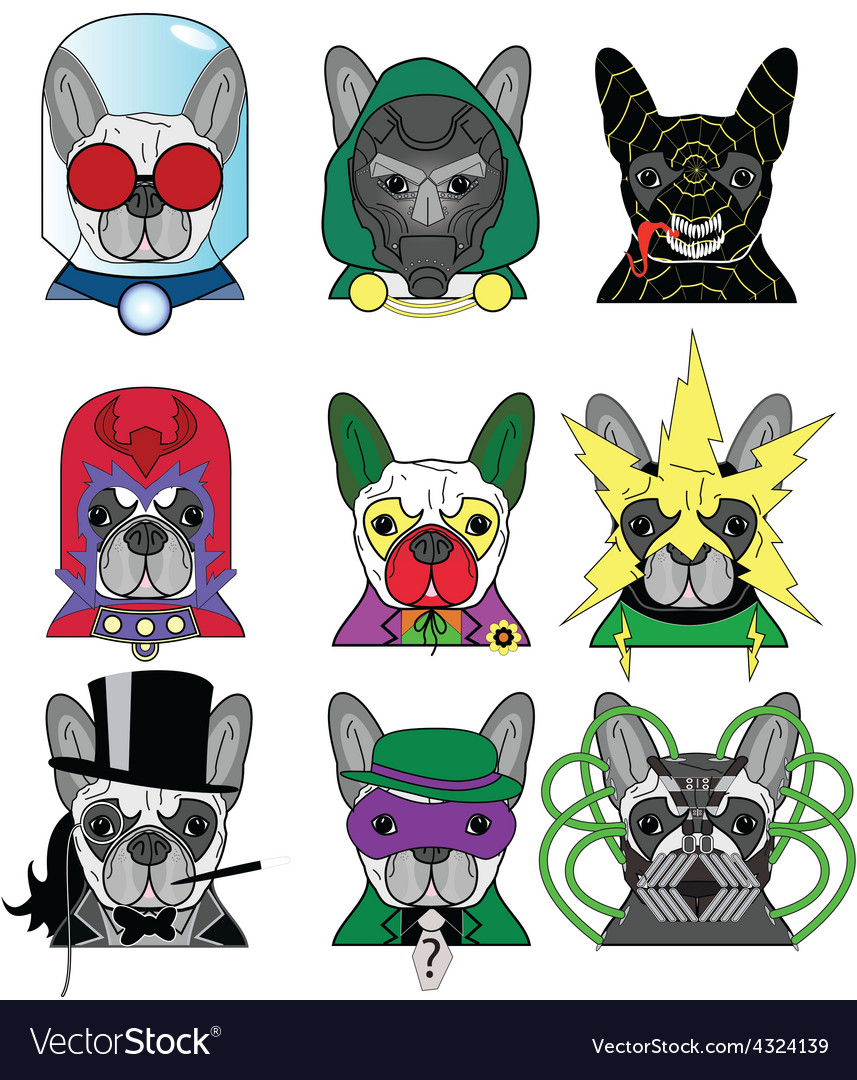 Villains french bullldogs icons vector | Price: 1 Credit (USD $1)