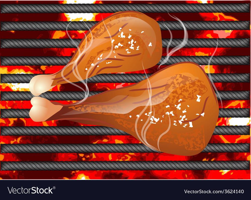 Bbq chicken leg vector