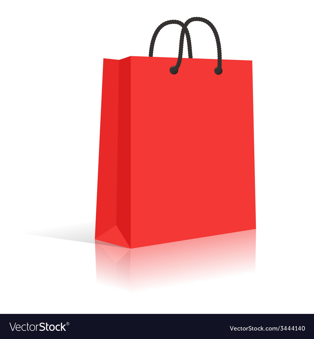 Blank red paper shopping bag with black rope vector | Price: 1 Credit (USD $1)