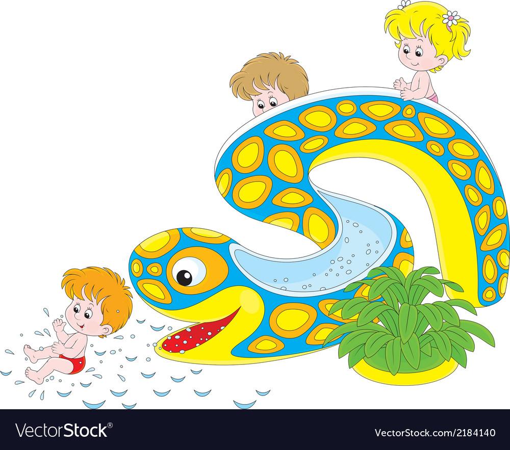 Children on a waterslide vector | Price: 1 Credit (USD $1)