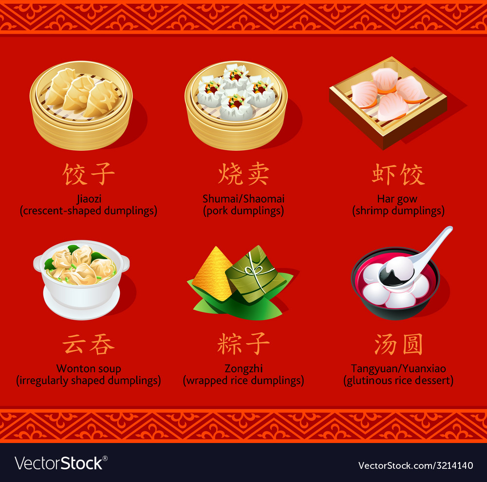 Chinese dumplings set i vector | Price: 1 Credit (USD $1)