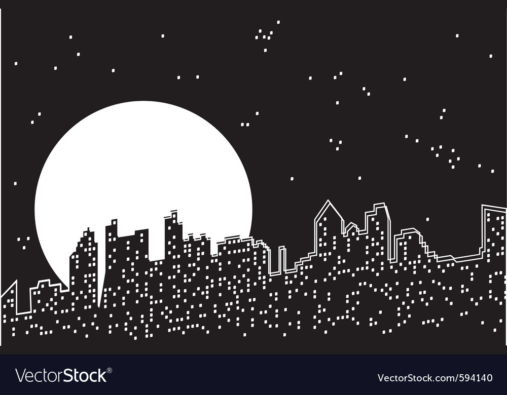 City moon night vector | Price: 1 Credit (USD $1)