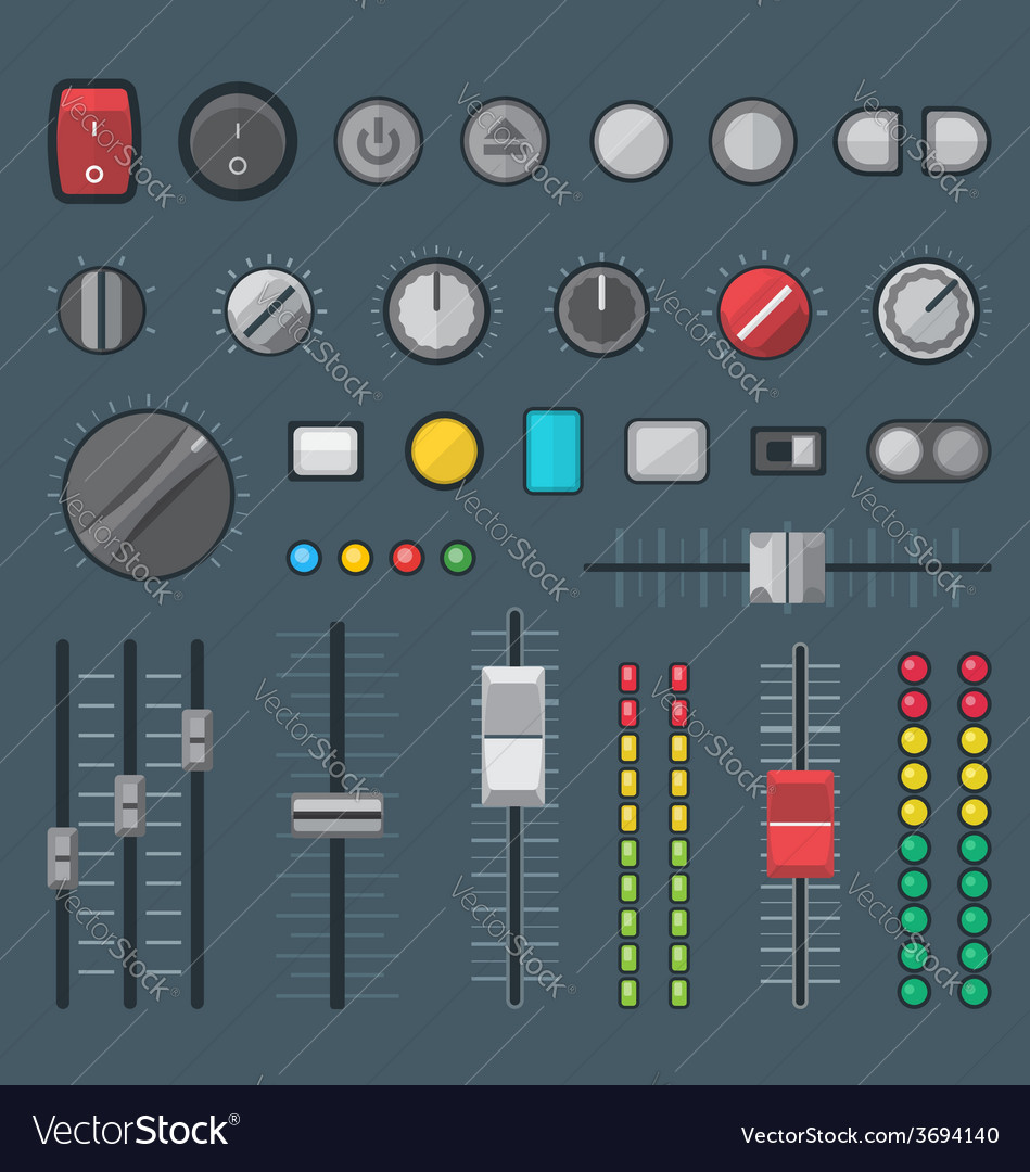 Flat style various audio controls and indicators vector | Price: 1 Credit (USD $1)