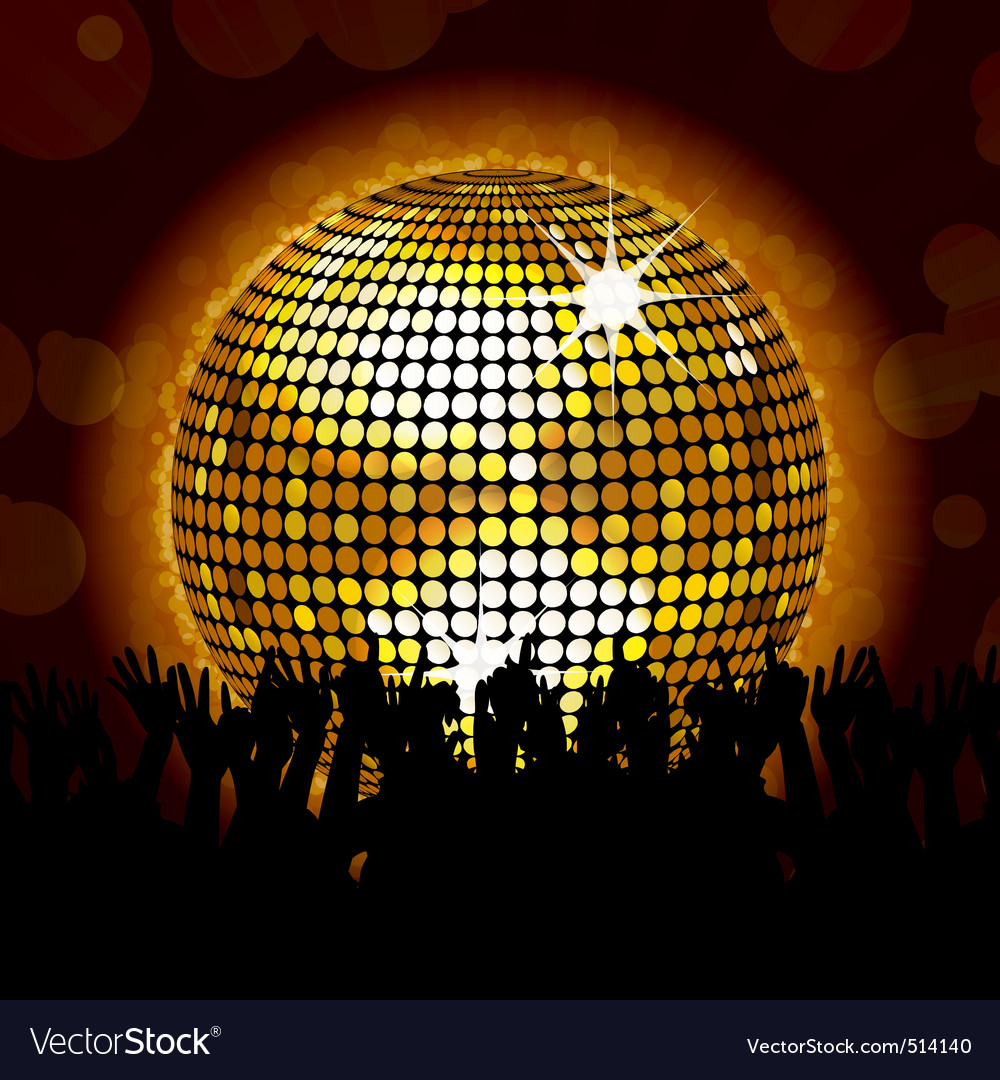 Glowing disco ball and crowd vector | Price: 1 Credit (USD $1)