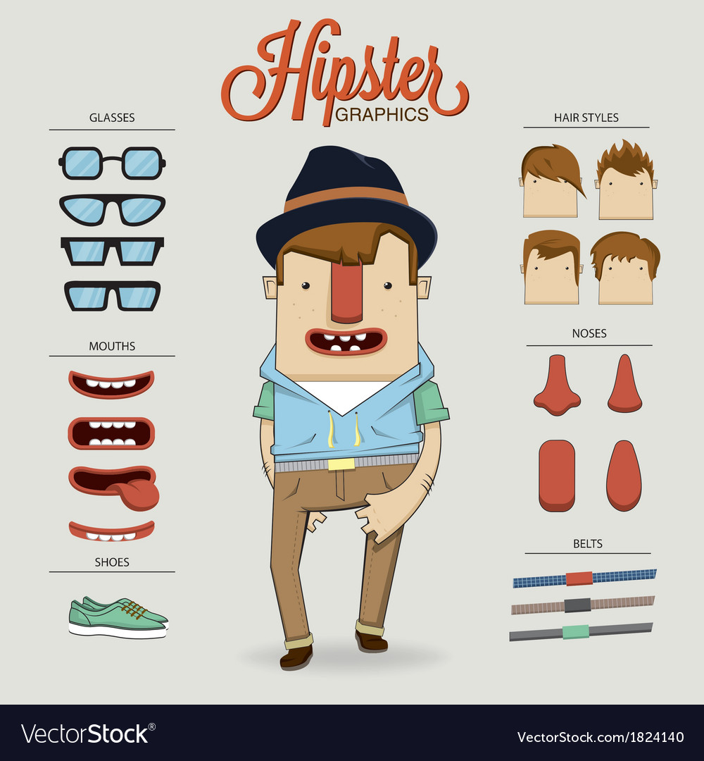 Hipster character with character elements and vector | Price: 1 Credit (USD $1)