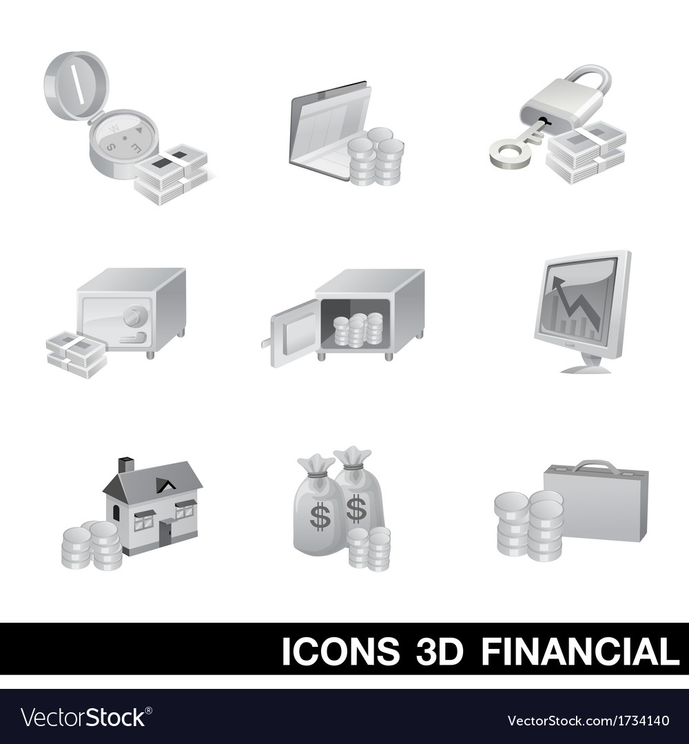 Icon set 3d financial vector | Price: 1 Credit (USD $1)