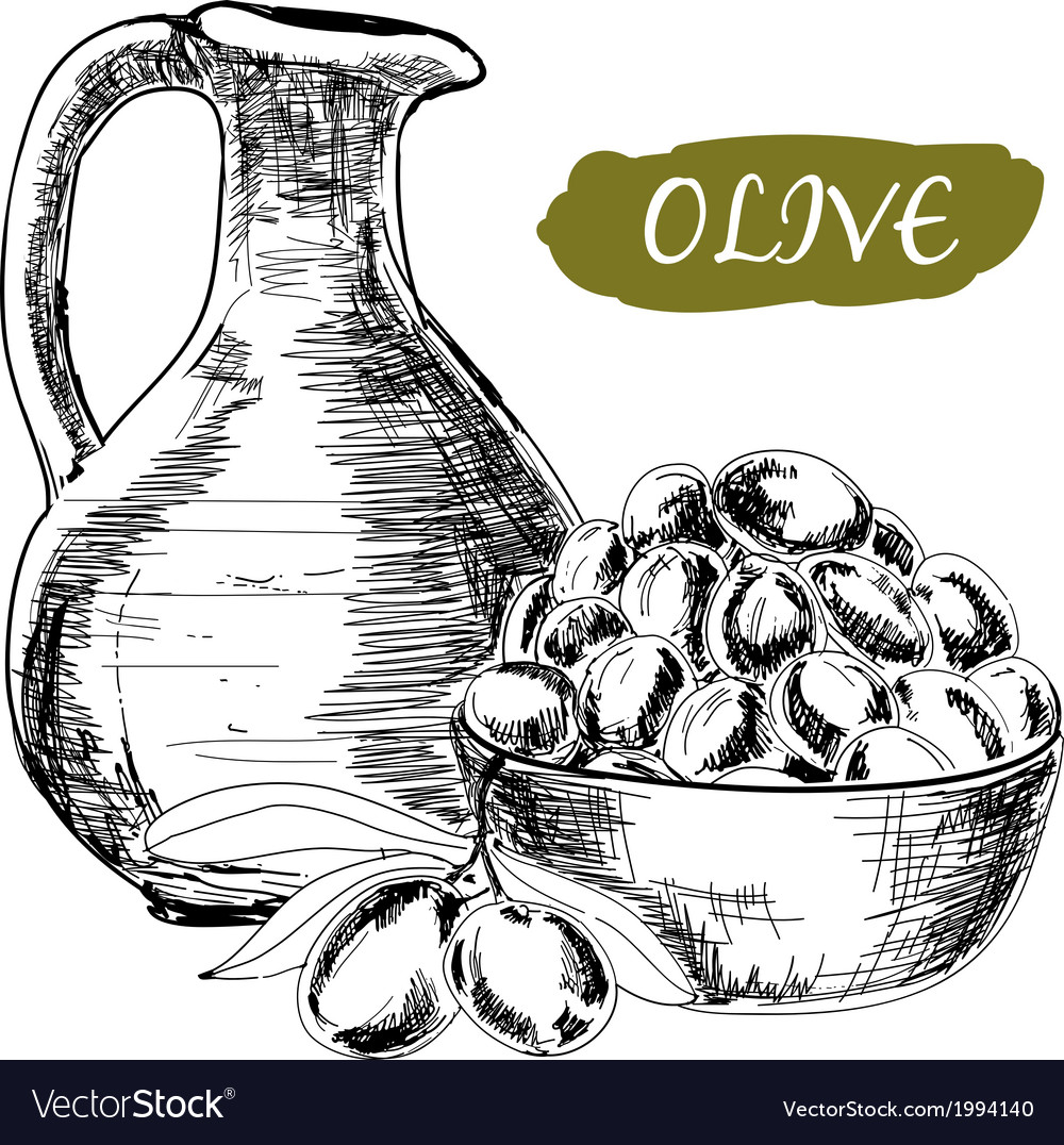 Jug and olives vector | Price: 1 Credit (USD $1)
