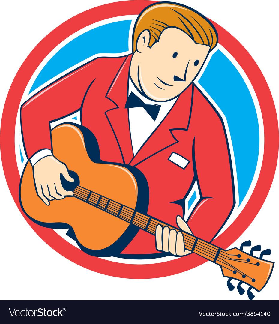 Musician guitarist playing guitar circle cartoon vector | Price: 1 Credit (USD $1)