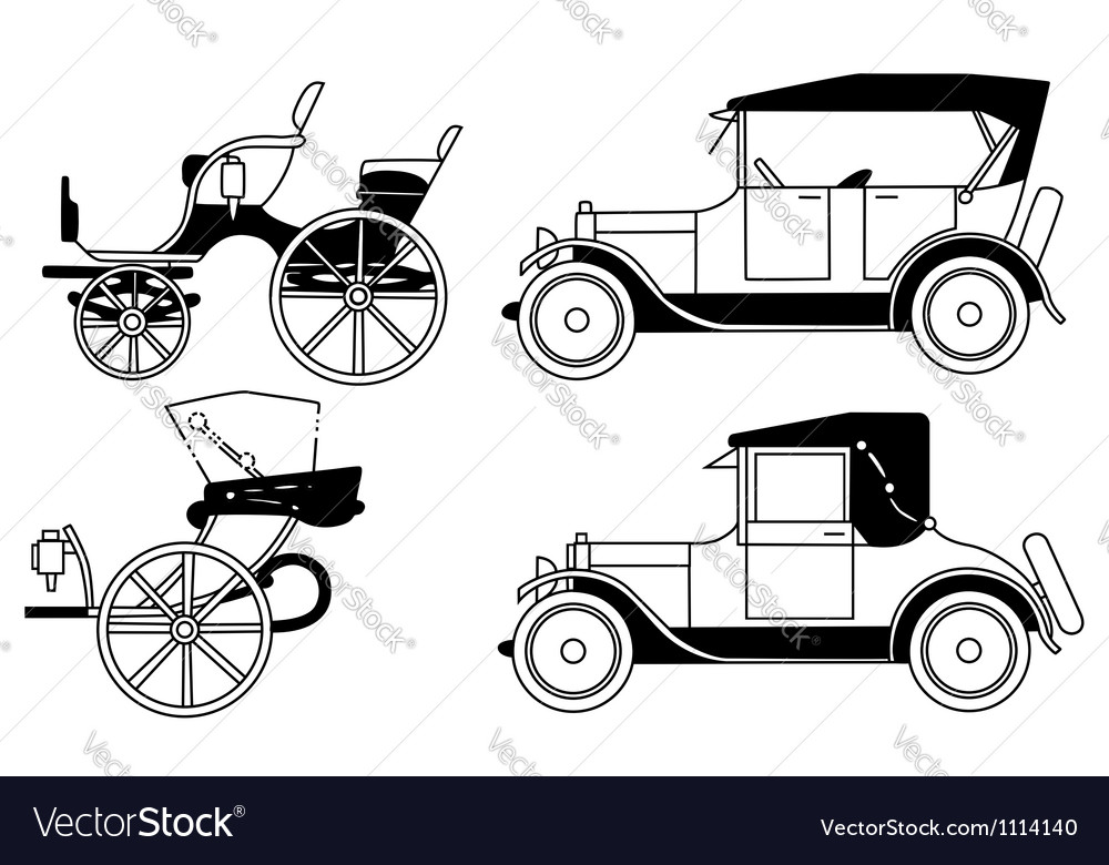 Set of the old isolated cars vector | Price: 1 Credit (USD $1)