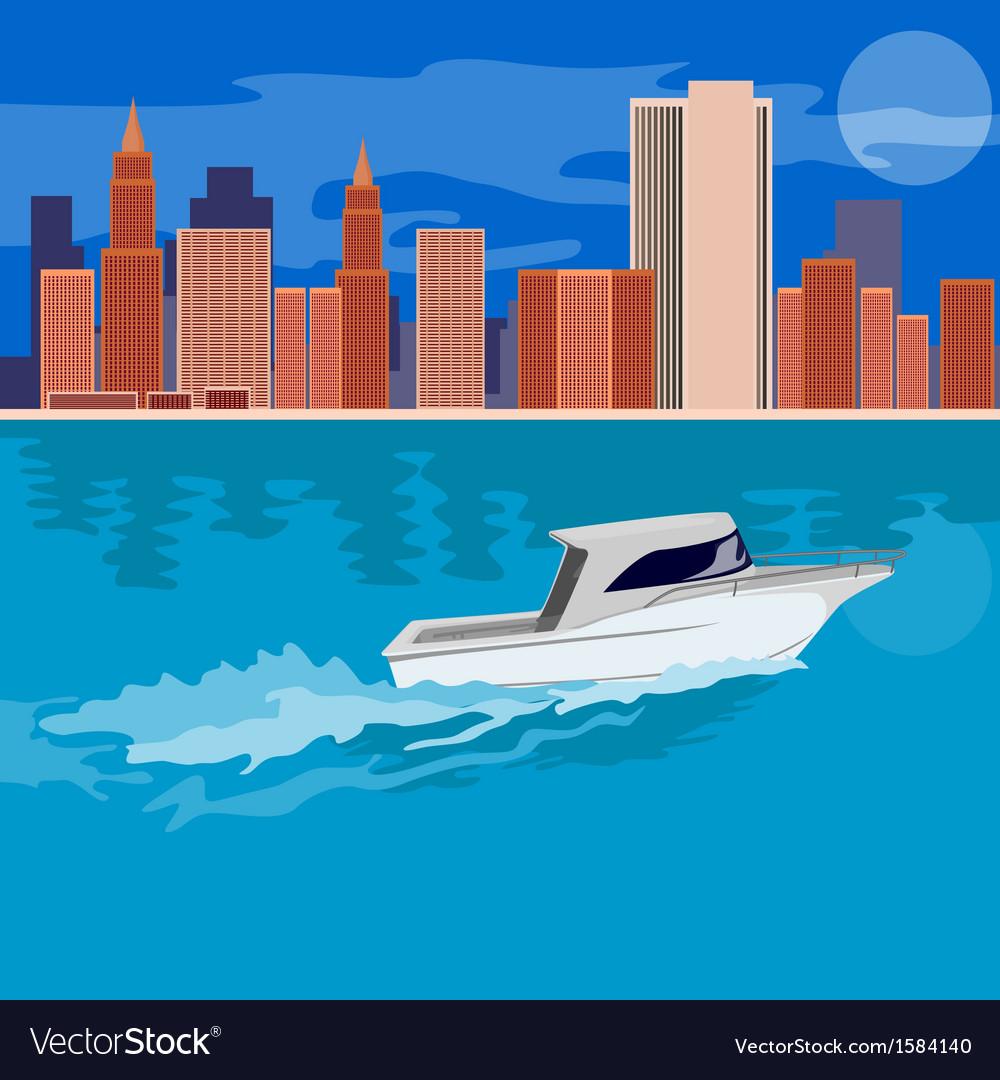 Skycrapers with speedboat vector | Price: 1 Credit (USD $1)