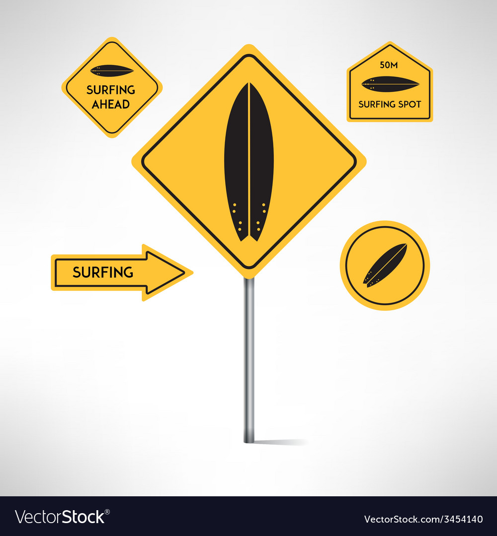 Surfing board road signs set vector | Price: 1 Credit (USD $1)