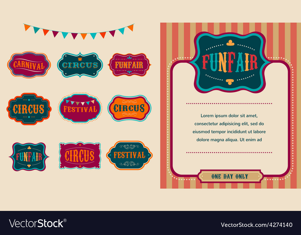 Vintage circus labels set vector | Price: 1 Credit (USD $1)