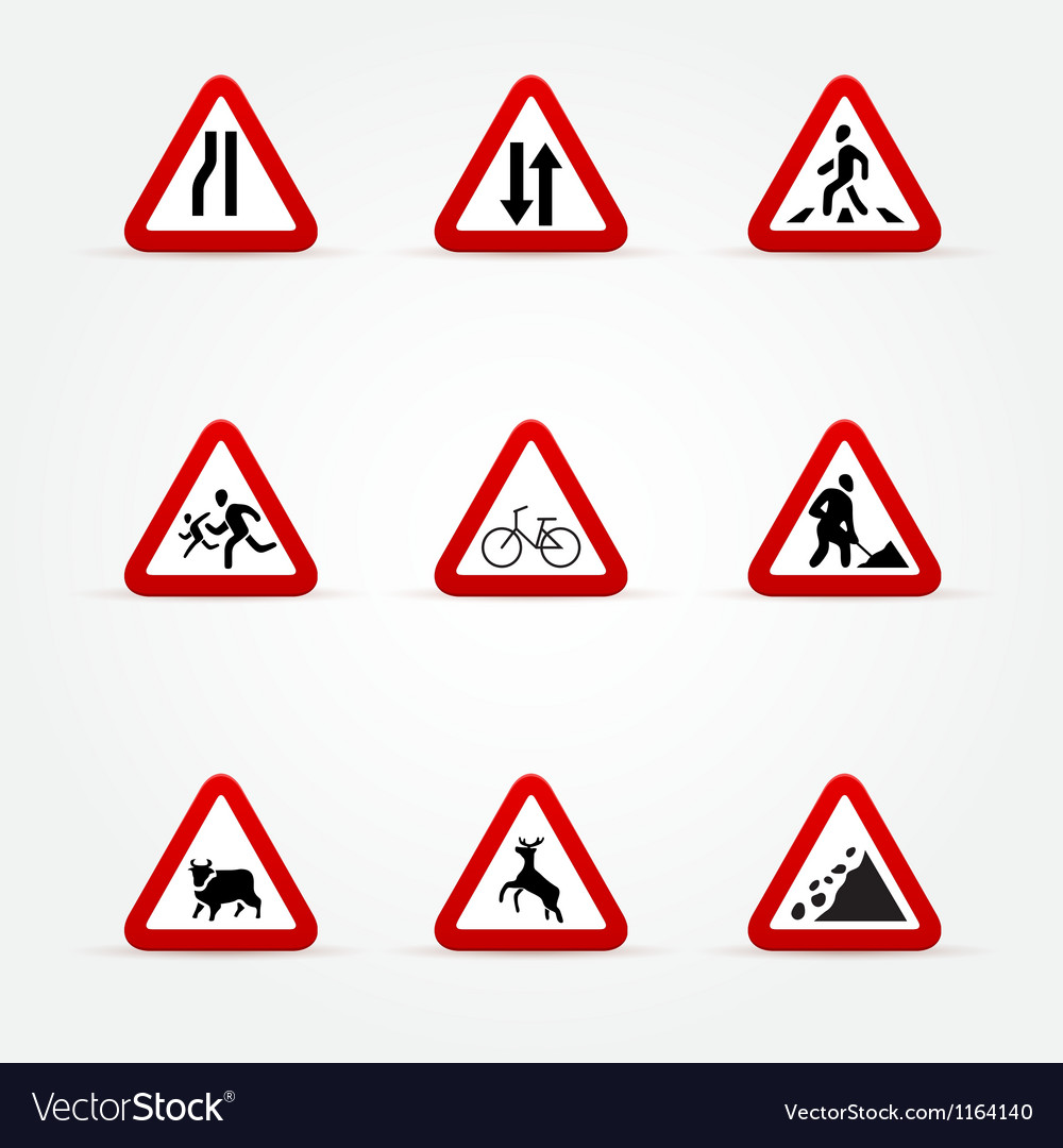 Warning traffic signs vector | Price: 1 Credit (USD $1)