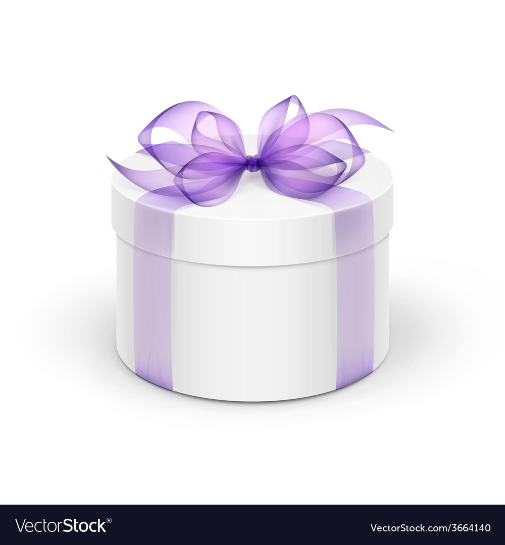 White round gift box with light purple violet vector | Price: 1 Credit (USD $1)