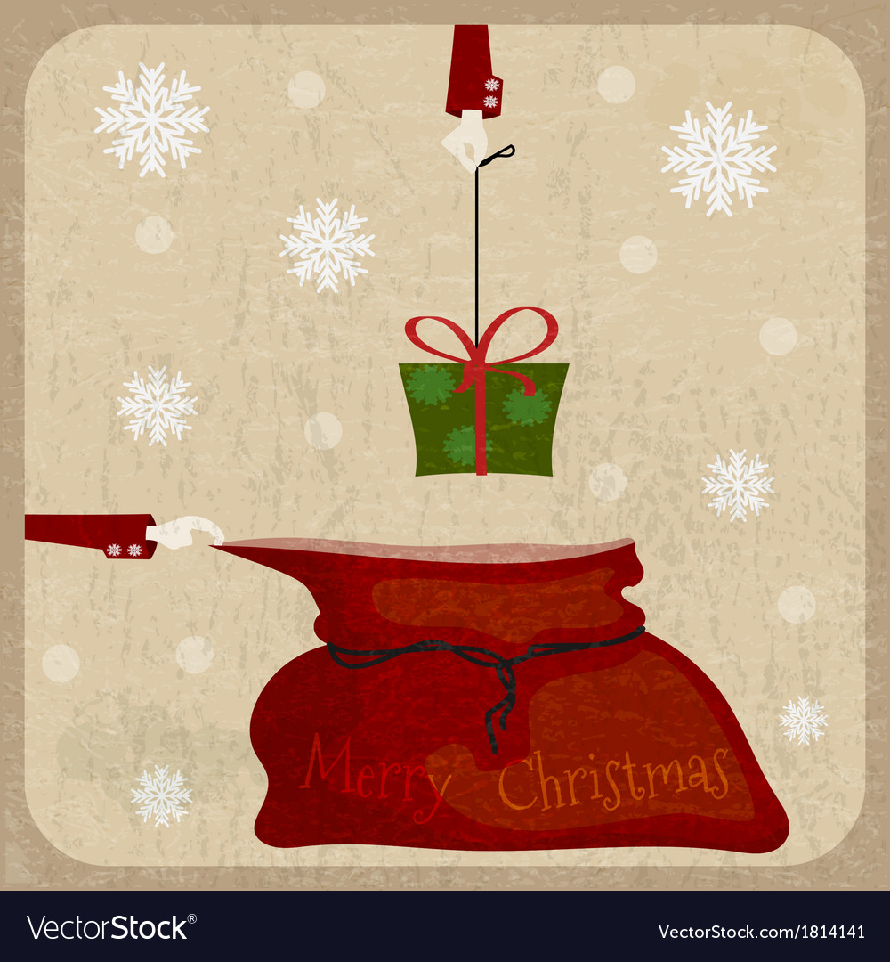 Bag of santa claus on christmas card background vector | Price: 1 Credit (USD $1)