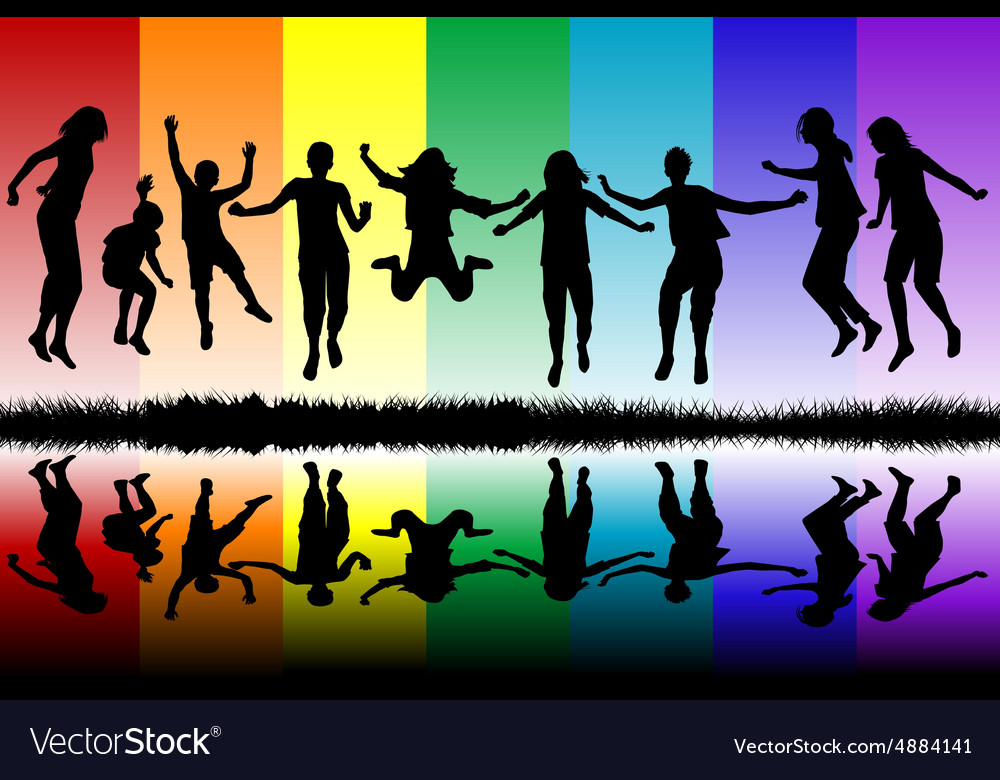 Children silhouettes jumping vector