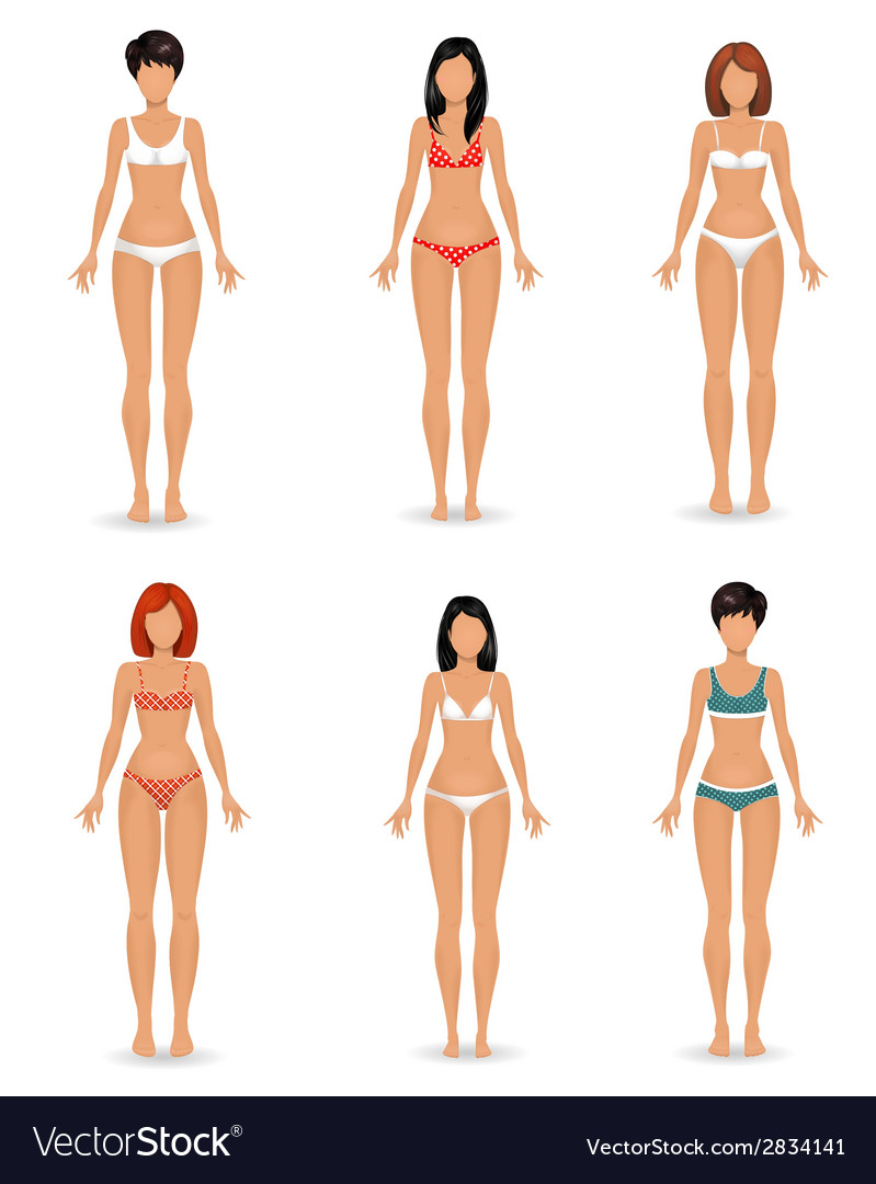 Collection female body template vector | Price: 1 Credit (USD $1)