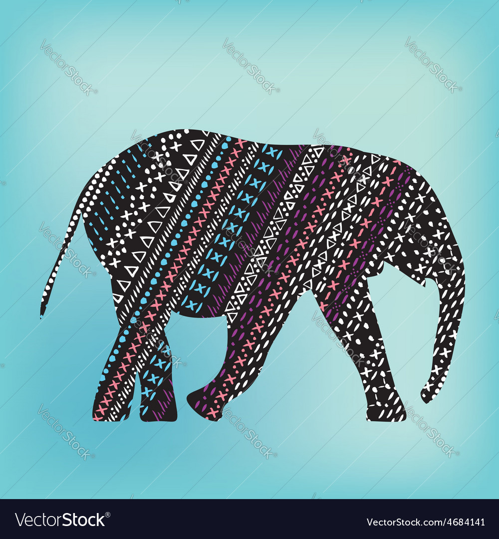 Elephant with pattern print tribal vector | Price: 1 Credit (USD $1)