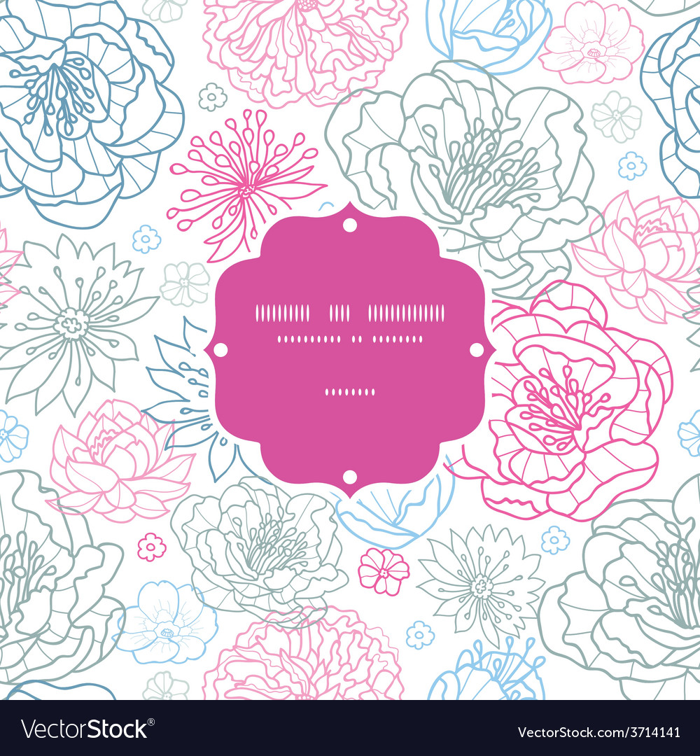 Gray and pink lineart florals frame vector | Price: 1 Credit (USD $1)
