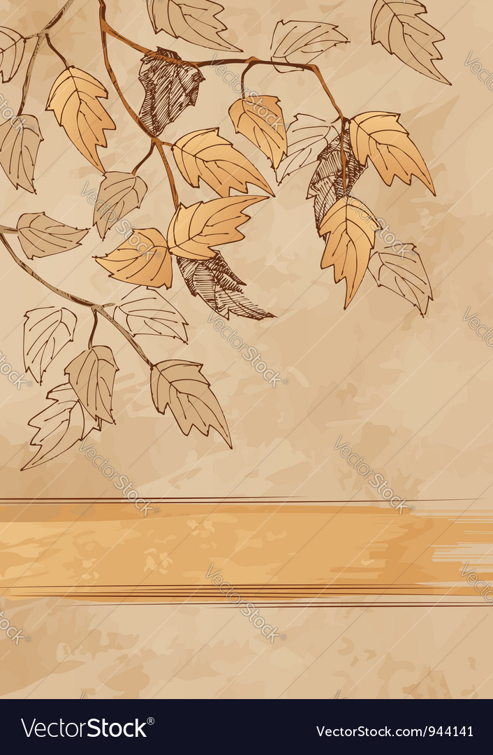 Grunge background with autumn leaves vector | Price: 1 Credit (USD $1)